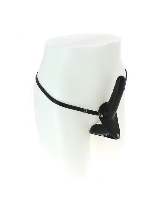 Double gode ceinture en latex noir