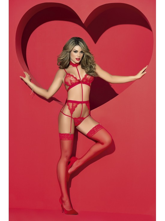 Shop The Feed Teddy red with garter 8277