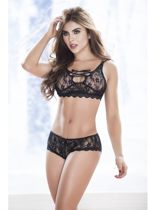 Ensembles Lingerie Two pieces set black 8250