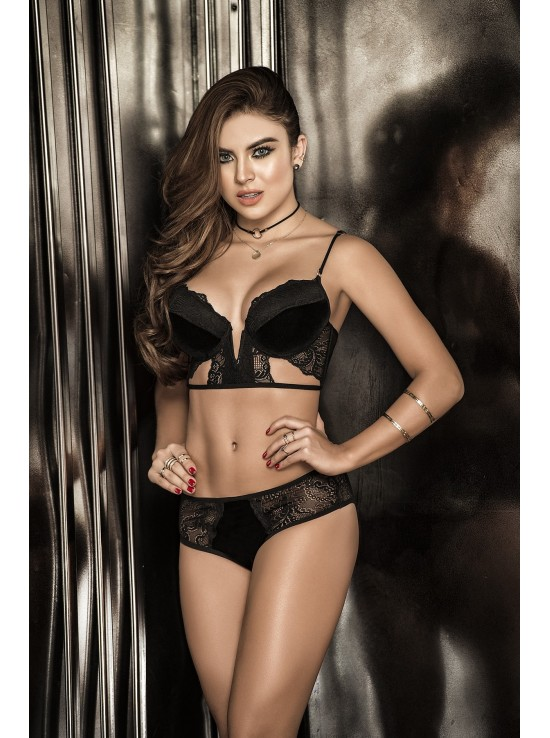 Ensembles Lingerie Two pieces set black 8263