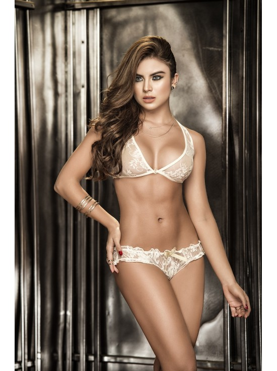 Ensembles Lingerie Two pieces set ivory 8271