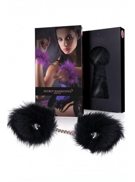 Menottes & Accessoires Black marabou handcuffs 3415k